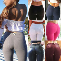 Women's High Waist Yoga Pants Push Up Faux Leather Leggings Stretch Trousers G52