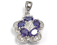 1.4 ct tw Natural Blue Violet Tanzanite & Diamond 14k White Gold Flower Pendant
