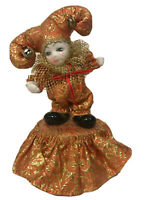 Rare VINTAGE PORCELAIN HAND PAINTED JESTER DOLL Musical