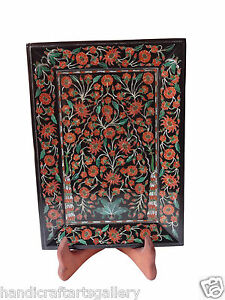 Black Marble Serving Tray Plate Gems Inlay Mosaic Carnelian Handmade Gifts H1320