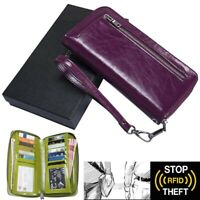 Women's RFID Blocking Genuine Leather Zip Around Wallet Clutch Bag Travel Purse