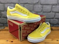VANS UK 1 EUR 32 OLD SKOOL CANVAS/SUEDE TRAINERS ASPEN GOLD WHITE CHILDRENS M