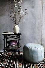 Moroccan Leather Ottoman Pouffe Pouf Footstool In Mid Grey