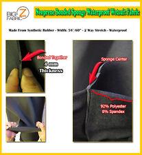 BIGZFABRIC® NEOPRENE BONDED SPONGE WATERPROOF WETSUIT FABRIC - BLACK 4mm - BTY