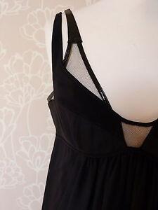 Kaufmanfranco DRESS BLACK SILK COCKTAIL DRESS  Mesh Top Size  UK 10  VGC