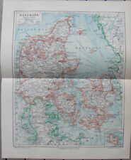 Antique map litho kaart Denemarken Denmark Danmark 1904 landkaart
