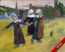 YOUNG BRETON CORNISH CELTIC GIRLS DANCING PLAYING PAINTING ART REAL CANVAS PRINT