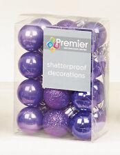 48 X Violet Incassable Sapin de Noël Boules Décorations Petit 3cm Taille
