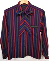 Jaeger 100% Wool Vintage Blouse Shirt With Bow Neck Tie Size 34in Striped