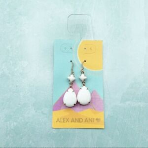 Alex and Ani birch dewdrop hook earrings -WHITE - New