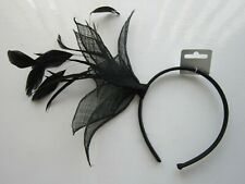 FASCINATOR | Black | Sinamay | Feathers | Hairband | Wedding Prom Races (55A)