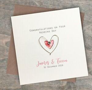 Personalised Handmade Wedding Day Card Couple Engaged Mr & Mrs Mum Dad Fiance