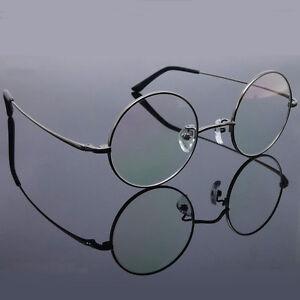 Pure Titanium Vintage Round Full Rim Flexible Eyeglasses Frame Rx Clear Lenses