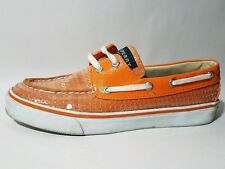 Sperry Sequin Wmn 6 M Boat Shoe Orange Leather Canvas Flat Moc Toe Casual Loafer