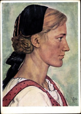 1938 German blonde woman portrait Willrich postcard WW2 Cartolina Tedesca