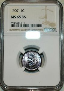 1907 INDIAN HEAD CENT NGC MS 65 BN HIGH GRADE GORGEOUS APPEAL COLOR TONED