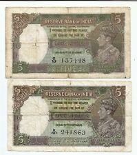 British India Rs 5 King George VI. 2 notes - Taylor & Deshmukh Fine  WW II  1943