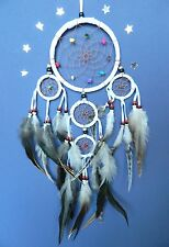 DREAM CATCHER TRADITIONAL INDIAN MOONLIGHT WHITE dreamcatcher with stone bead