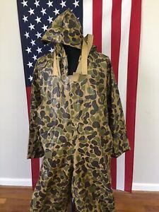 vtg Stearns Dry Wear PVC Duck Camo Jacket & Bibs Pants men's SMALL rain 1b461