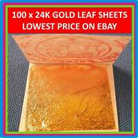 "100 x 24K EDIBLE GOLD LEAF SHEET PURE REAL GENUINE LEAVES GILDING 1.18"" 999/1000"