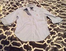 Girl's Polo Ralph Lauren Button Front Shirt Sz L Blue Long 3/4 Sleeves Oxford
