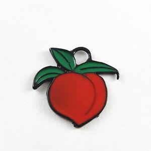 10 pcs Red Enamel Zinc Alloy Peach Fruit Charms Pendant Jewelry Craft Findings