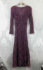 Betsey Johnson NY Vintage 90s Sheer Stretch Lace Dress Purple Maxi Medium 6 8 10