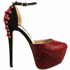 Luichiny Mary lyn Red Snake Pointy Toe High Heel Pump Shoe 7 - 11