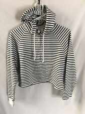H&M Divided Basic Size White & Black Striped oversized Cropped Hoodie