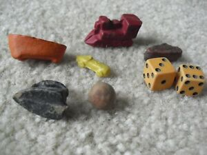 Lot of Antique Board Game Pieces Composition Train Bath Tub Iron Dice