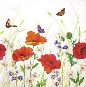 3 x Single Paper Napkins Decoupage Craft Tissue Poppies Flowers Butterflies M691