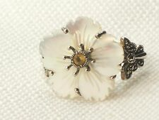 Estate Vintage Sterling Silver CNA Flower Citrine Ring Mother of Pearl .925