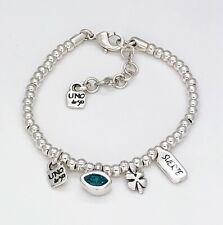 New Uno De 50 I'm Waiting 4 U Silver Tone Multi Charm Blue Bracelet