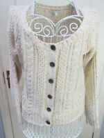 FAT FACE Cable Knit Aran Cardigan Size 12 Chunky Knit Cream Textured EXC CON