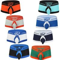 Mens Boxer Briefs Open Butts Gay Underwear Shorts Bulge Pouch Trunks Underpants