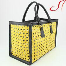 Ital. Damen echt Leder Tasche Ledertasche Sommertasche Gelb Schwarz Handtasche