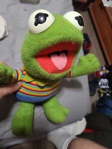 "Kermit The Frog 13"" Vintage Hasbro Softies Muppet Babies 1983 Plush Doll"