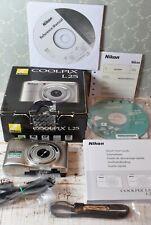 NIKON Silver Coolpix L25 10.1MP Wide 5x Zoom VR Digital Compact Camera Boxed