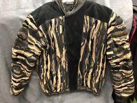 Vintage Coogi Australia Authentic Zip Up Sweater Jacket Black Suede 1980's DS30