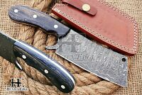 HUNTEX Custom Handmade Damascus Steel 23 cm Long Pakka Wood Campin Cleaver Knife