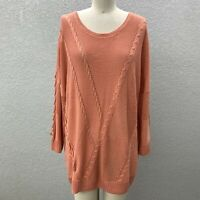 Soho Jeans Cable Knit Pullover Sweater Women's XL Coral Scoop Neck Long Sleeve