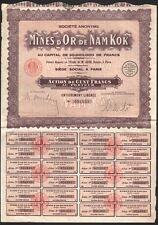 INDOCHINA, 1929. Bond 100 Fr, Nam Kok Mining Company