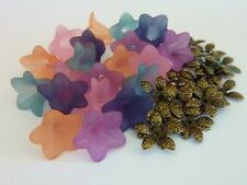 Acrylic Bell Flower Beads With Matching Antique Bronze Leaf Bead Caps 40 Pieces