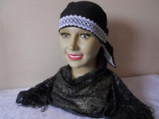 COTTON TRIANGLE BANDANA BLACK + WHITE LACE TRIM,GIFT FOR CHEMO PATIENT/ ALOPECIA