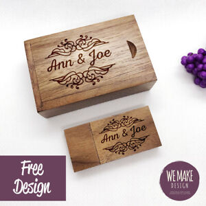 Personalised Wooden Usb with Gift Box, 32GB USB 3.0 * Wedding Memories *