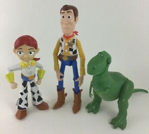 """Toy Story 3pc Lot Toy Figures Doll Rex 9"""" Woody 7"""" Jessie Disney"""