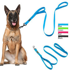 Reflective Nylon Dog Lead Double Handle Soft Air Mesh Padded Lead for Labrador