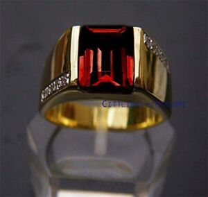 Natural Garnet & CZ Gemstones with 925 sterling silver Gold Plated Ring