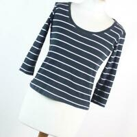 Marks & Spencer Womens Size 12 Black Striped Cotton Basic Tee