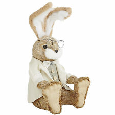 "LARGE NATURAL BUNNY IN VEST,  JACKET, NEW, SPRING, BENDABLE EARS, 17"" TALL"